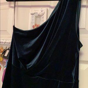 One shoulder velvet cocktail dress